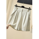 Retro Womens Shorts Plain Button Detail Suit Fabric Pleated Zippered Wide Leg Loose Fitted Relaxed Shorts