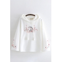 Chinese Style Rabbit Floral Embroidered Long Sleeve Drawstring Relaxed Hoodie