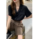 Popular Ladies Solid Color Short Sleeve Notched Collar Patched Loose Fit Shirt Top