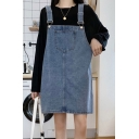Classic Girls Solid Color Pocket Patched Short Shift Suspender Denim Dress