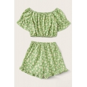 Fancy Green All Over Daisy Flower Printed Stringy Selvedge Short Sleeve Off the Shoulder Regular Crop T Shirt & Relaxed Fit Shorts Set