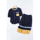 Trendy Womens Chest Pocket Contrasted Short Sleeve Crew Neck Relaxed T-shirt & Mid Knit Pleated Skirt Set