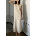 Elegant Ladies Solid Color Sleeveless Crew Neck Knitted Mid Shift Dress