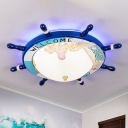 Domed Bedroom Flushmount Lighting Frosted Glass LED Cartoon Ceiling Lamp with Rudder Design in Dark/Light Blue
