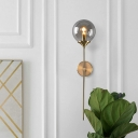 Sphere Smoke Grey/Amber Glass Wall Lamp Modernism 1 Bulb Gold Wall Mounted Light with Long Vertical Arm