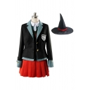 Creative Girls Contrasted Blazer Vest Shirt Mini A-line Pleated Skirt Set in Black
