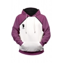 Popular Mens Letter Shiratorizawa Footprint Graphic Contrasted Long Sleeve Drawstring Pouch Pocket Loose Hoodie in White