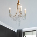 Champagne 3 Bulbs Chandelier Light Fixture Modern Metal Candle Hanging Ceiling Lamp with Crystal Accent