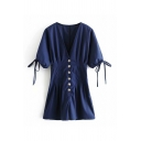 Dainty Rompers Plain Short Sleeves Button Closure Tie V Neck Pleated Detail Navy Wide-leg Rompers for Women