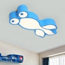 Yellow/Blue Goldfish Flushmount Modern Style LED Acrylic Ceiling Mounted Fixture for Children Room