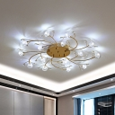 Gold Spiral Branch Flush Mount Lamp Modern Flower Crystal 15-Light Bedroom LED Flush Light Fixture