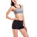 Womens Trendy Shorts Solid Color Top-stitching High Rise Pocket Short Skinny Sporty Shorts in Black