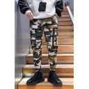 Mens New Fashion Yellow Camo Printed Drawstring Waist Cotton Casual Cargo Pants