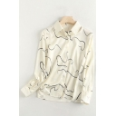 Chic Girls Abstract Stripe Printed Long Sleeve Point Collar Button Up Relaxed Fit Shirt Top in White