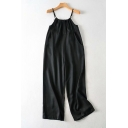 Cool Womens Jumpsuits Plain Drawstring Detail Sleeveless Halter Neck Loose Fitted Straight Jumpsuits