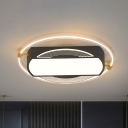 Simple Oblong and Round Flush Mount Acrylic LED Drawing Room Ceiling Light Fixture in Black
