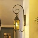 Tan Glass Lantern Wall Light Sconce Industrial Style 1 Head Corridor Wall Mounted Lamp in Antique Bronze