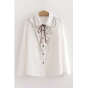 Cute Girls Stringy Selvedge Contrast Pipe Long Sleeve Turn down Collar Bow Tied Button up Loose Shirt in White
