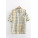 Casual Girls Plaid Printed Short Sleeve Turn down Collar Flap Pocket Button up Relaxed Shirt Top