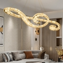 Chrome LED Musical Note Pendant Lamp Modern Style Faceted Crystal Ceiling Chandelier