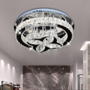 Clover Sitting Room Ceiling Lamp Clear Hand-Cut Crystal LED Simple Semi Flush Light Fixture in Black