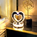 Crystal Block Heart Desk Lamp Minimalist LED Task Lighting in Stainless-Steel for Bedside, Warm/White Light