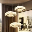 LED Dining Room Multi Pendant Light Contemporary Silver Down Lighting with Square Clear Beveled Crystal Shade