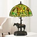 Bowl Shaped Table Lighting 1 Light Hand Cut Glass Tiffany Leaf Patterned Night Lamp in Bronze with Resin Horse Base