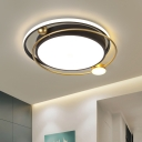 Metal Planet Orbit Flush Mount Lamp Scandinavian Black and Gold Ceiling Light Fixture