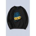 Novelty Mens Pullover Sweatshirt Stairs Figure Sofa Letter Pivot Pattern Long Sleeve Relaxed Fit Crew Neck Pullover Sweatshirt