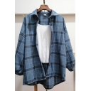 Popular Casual Long Sleeve Lapel Neck Plaid Print Button Down Oversize Shirt for Girls