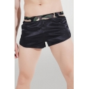 Black Sexy Mens Patchwork Elastic Waist Mid Rise Loose Fit Pajama Shorts