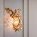 Resin Peacock Wall Mount Lamp Traditional 1-Light Living Room Right/Left Wall Sconce in White/Green/Gold with Globe Clear Crystal Shade