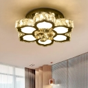 Crystal Blossom Ceiling Fixture Contemporary LED Semi Flush Light in Chrome for Bedroom
