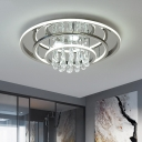 Teardrop Semi Mount Lighting Simplicity Clear Crystal LED Corridor Ceiling Fixture in Chrome with Ring Design