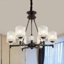 Crystal Cylinder Pendant Lamp Modernity 6/8 Heads Chandelier Lighting Fixture in Black