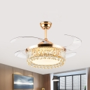 Beveled Crystal Drum Fan Lamp Kit Modern Style 19