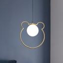 Cartoon Loving Heart/Bear Ceiling Light Metallic 1 Light Dining Room Pendant Lighting Fixture in Brass with Ball Cream Glass Shade