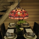 Red 1 Bulb Pendant Lamp Tiffany Stained Glass Bowl Shade Hanging Ceiling Light with Floral Pattern