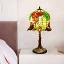 2 Lights Bedroom Table Lighting Victorian Yellow and Green Pull Chain Night Lamp with Bell Hand Cut Glass Shade