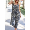 Womens Hot Popular V Neck Straps Sleeveless Tie Front Camo Jumpsuits