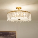 Clear Crystal Drum Semi Flush Mount Minimalist 4-Light Gold Ceiling Light Fixture with Scalloped Trim