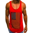 Mens Scoop Neck Sleeveless Star Stripe Number 85 Print Gym Muscle Casual Tank Top