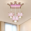 3 Bulbs Girl Bedroom Ceiling Lamp Kids Pink Flush Mount Fixture with Crown Resin Lampshade