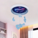 Music Pattern Circle Flush Light Kids Acrylic Pink/Blue LED Ceiling Lighting with Guitar and Rhythm Drop