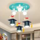 Light-Blue Graduate Cap Flushmount Kid 3 Heads Resin Ceiling Mounted Light for Kindergarten