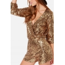 Retro Womens Rompers Sequin Decoration Surplice Neck Regular Fitted Long Sleeve Rompers
