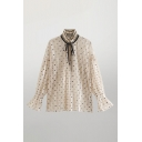 Apricot Boutique Girls Polka Dot Print Lace Mesh Patchwork Contrats Tie Neck Long Flared Cuff Sleeve Loose Shirt