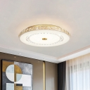 Crystal Round Flush Ceiling Light Fixture Minimalist Chrome/Gold LED Flush Mount Lamp for Dining Room, 16