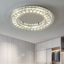 Modern LED Flush Ceiling Light Chrome Flush Mount Fixture with Clear Crystal Block Shade